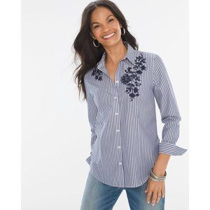 Size Large Chicos Striped Floral Embroidered Shirt
